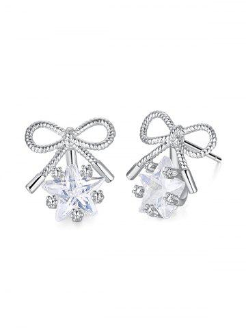 Bowknot Design Faux Crystal Stud Earrings 0719f8b4c969
