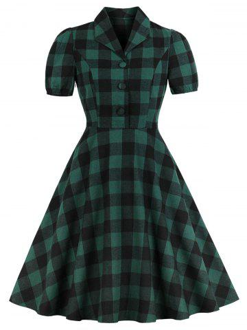 Vintage Shawl Collar Buttons Plaid Pin Up Dress