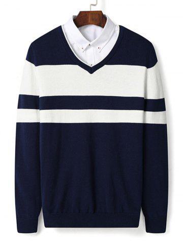 V Neck Color Block Stripe Pullover Sweater