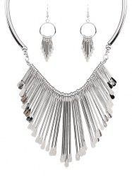 Alloy Fringed Necklace and Earrings -