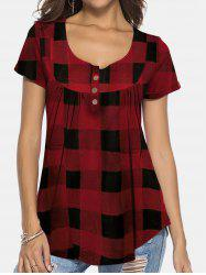 Plaid Print Short Sleeve Tee -