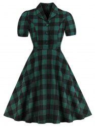Vintage Shawl Collar Buttons Plaid Pin Up Dress -