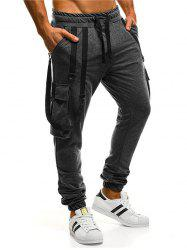 Multi-pocket Strap Drawstring Casual Jogger Pants -