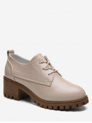 Round Toe Chunky Heel Vintage Shoes -