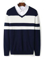 V Neck Color Block Stripe Pullover Sweater -