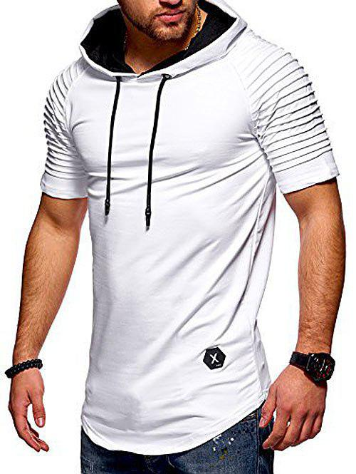Short Layered Raglan Sleeves Applique Hooded T-shirt