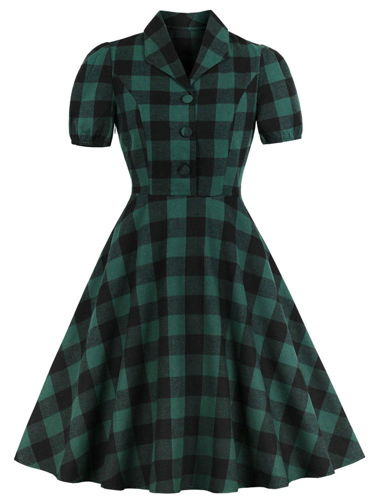 Trendy Vintage Shawl Collar Buttons Plaid Pin Up Dress