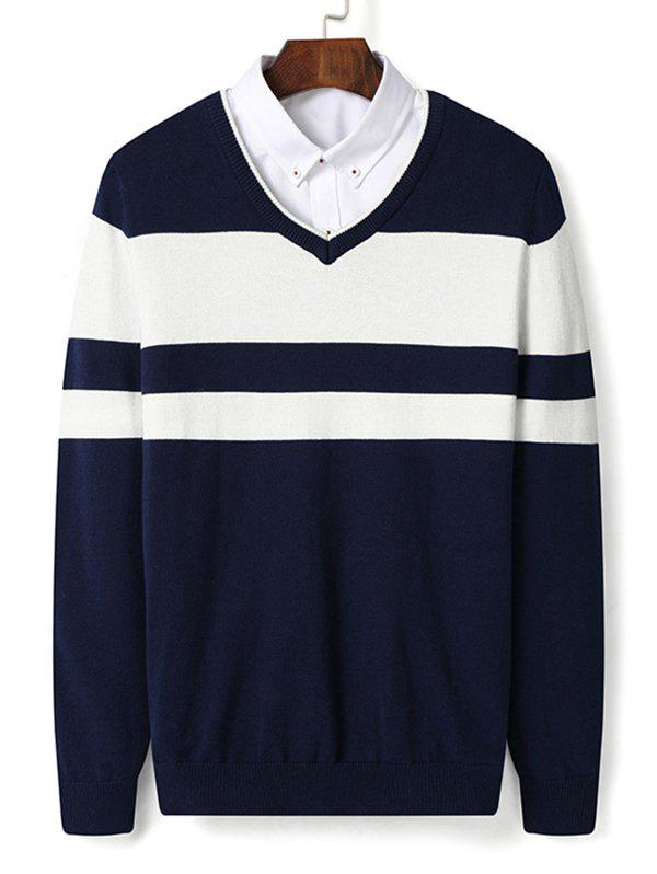 New V Neck Color Block Stripe Pullover Sweater