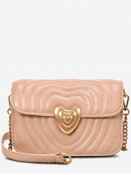 Metal Heart Quilted Crossbody Bag -