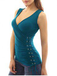 Lace Up Ruched Plain Tank Top -