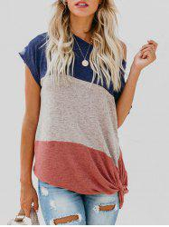 Contrast Knot Front T-shirt -