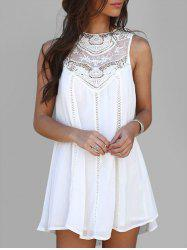 Crochet Panel Sleeveless Mini Dress -