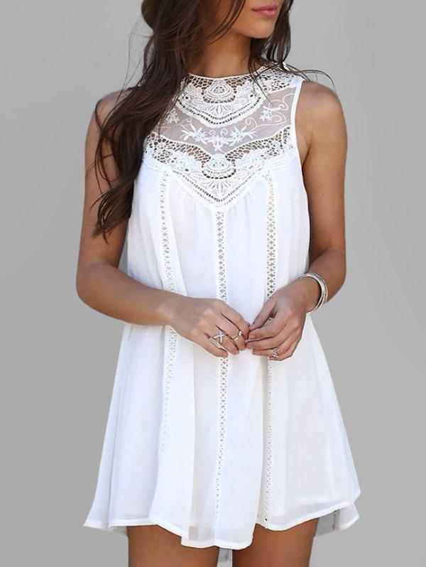 Discount Crochet Panel Sleeveless Mini Dress
