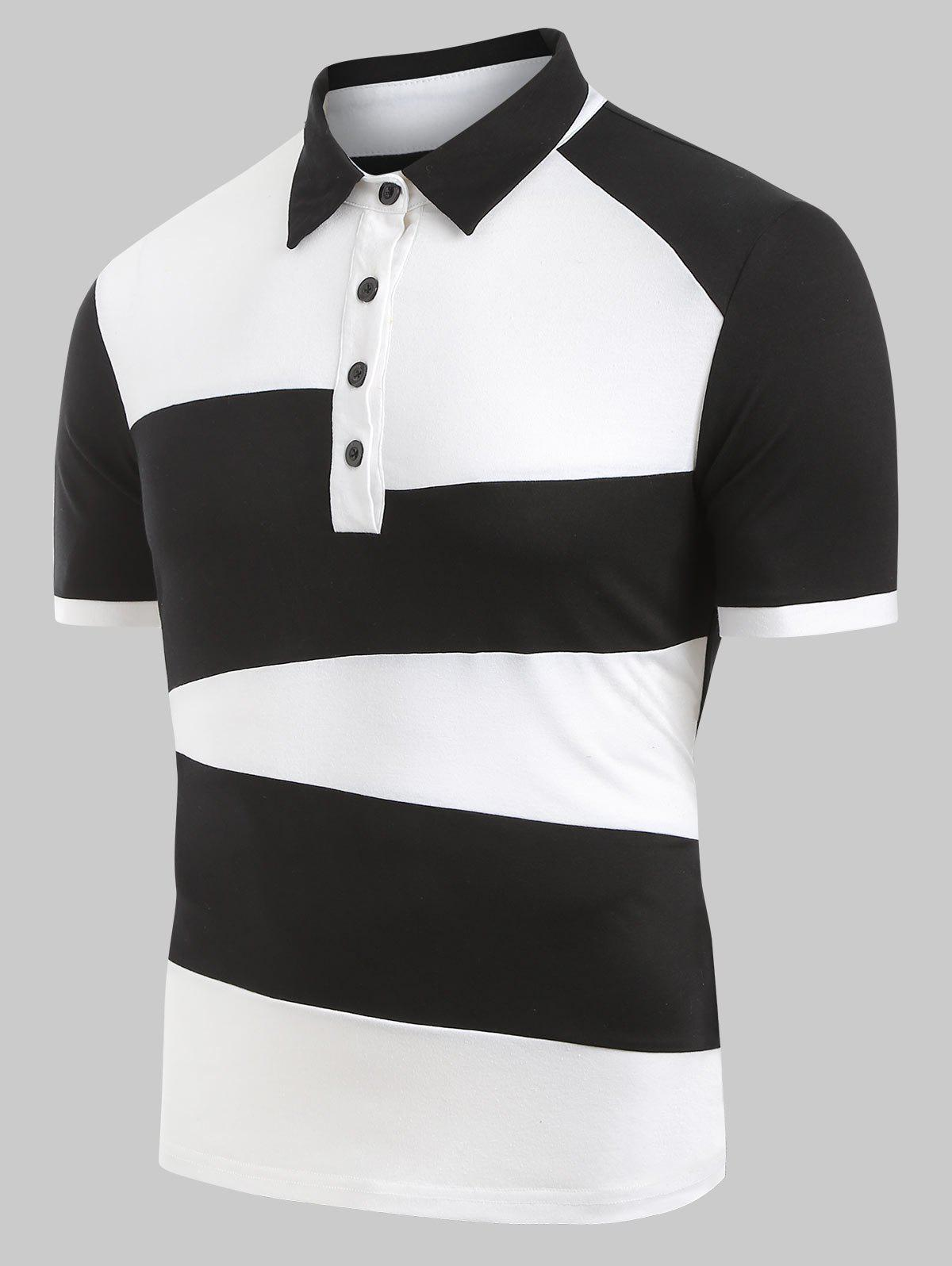 Shops Half Button Two Tone Tee