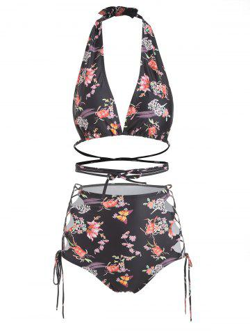 Halter Floral Butterfly Print Lace Up Bikini Set
