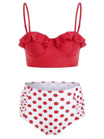 Flounced Polka Dot Ruched Bikini Set