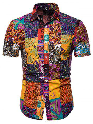 Short Sleeves Tribal Print Casual Shirt