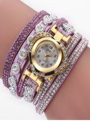 PU Leather Rhinestone Number Wrap Bracelet Watch -