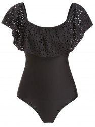 Ruffled Laser Cut One-piece Swimwear -
