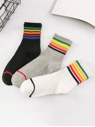 5Pcs Rainbow Pattern Cotton Socks -