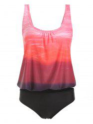 Ombre Color Top With Briefs Tankini Set -