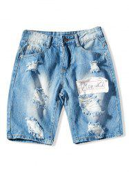 Short Zippé Déchiré Design en Denim -
