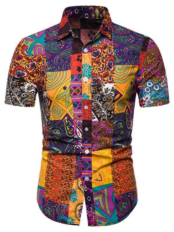 Affordable Short Sleeves Tribal Print Casual Shirt