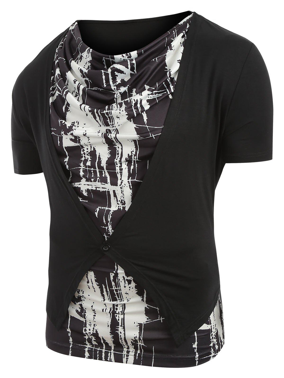 Cowl Neck Abstract Print Faux Twinset T-shirt