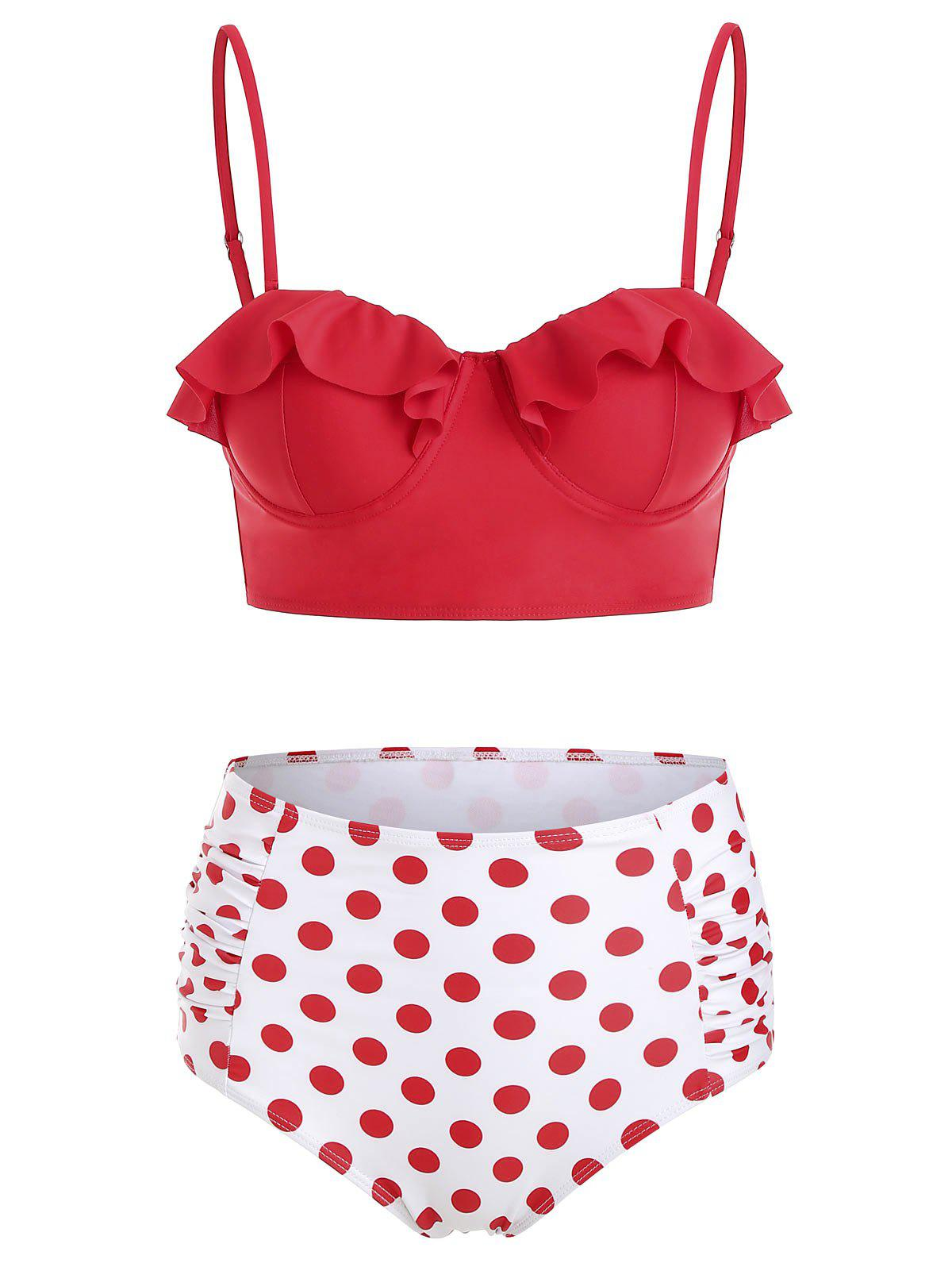 Sale Flounced Polka Dot Ruched Bikini Set