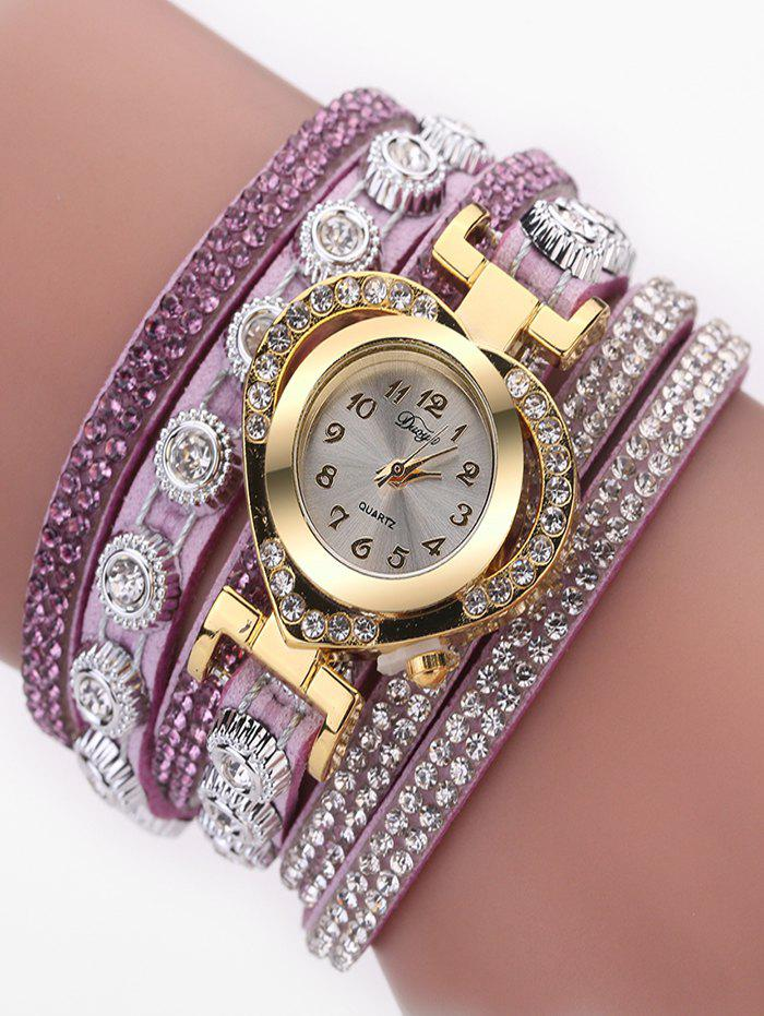 Buy PU Leather Rhinestone Number Wrap Bracelet Watch