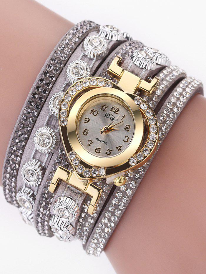 Best PU Leather Rhinestone Number Wrap Bracelet Watch