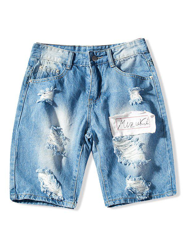 Short Zippé Déchiré Design en Denim
