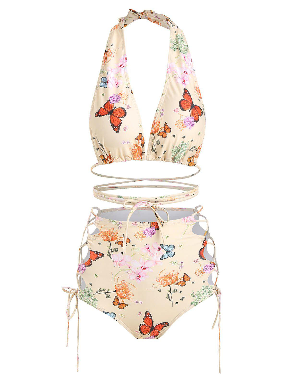 Shops Halter Floral Butterfly Print Lace Up Bikini Set