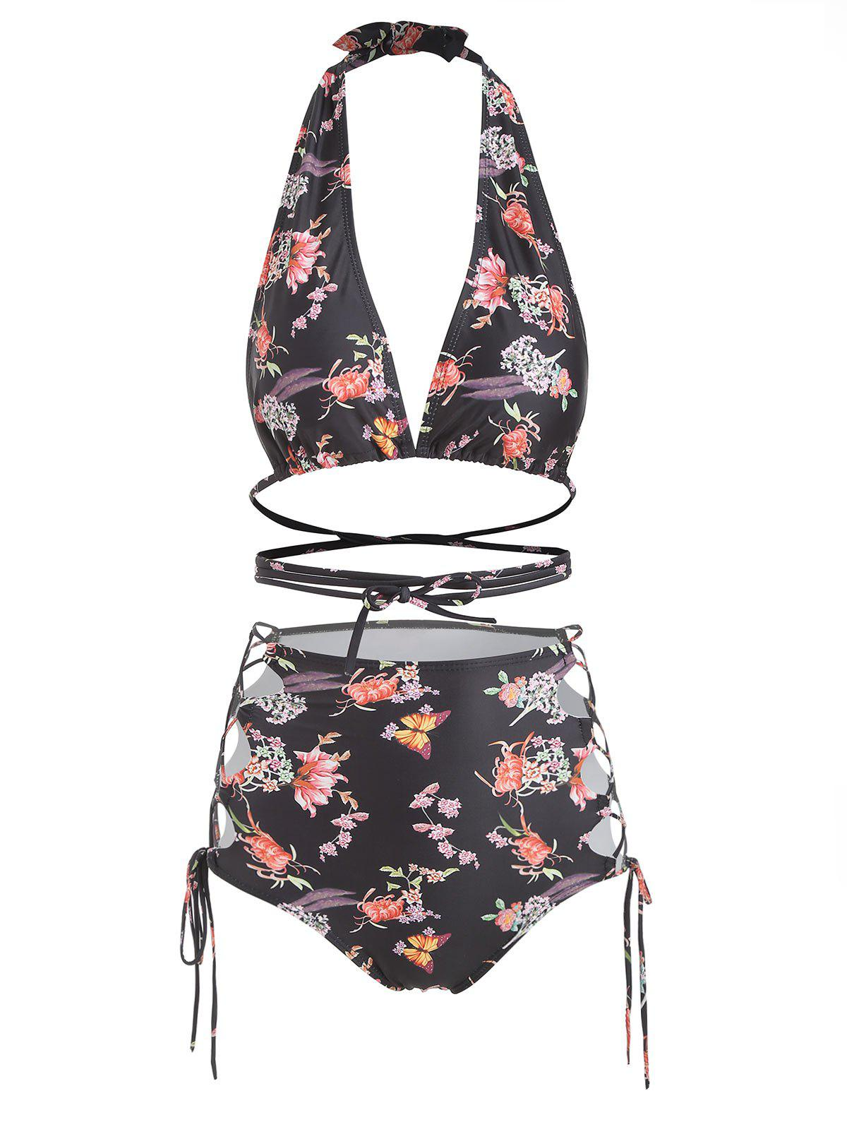 Discount Halter Floral Butterfly Print Lace Up Bikini Set