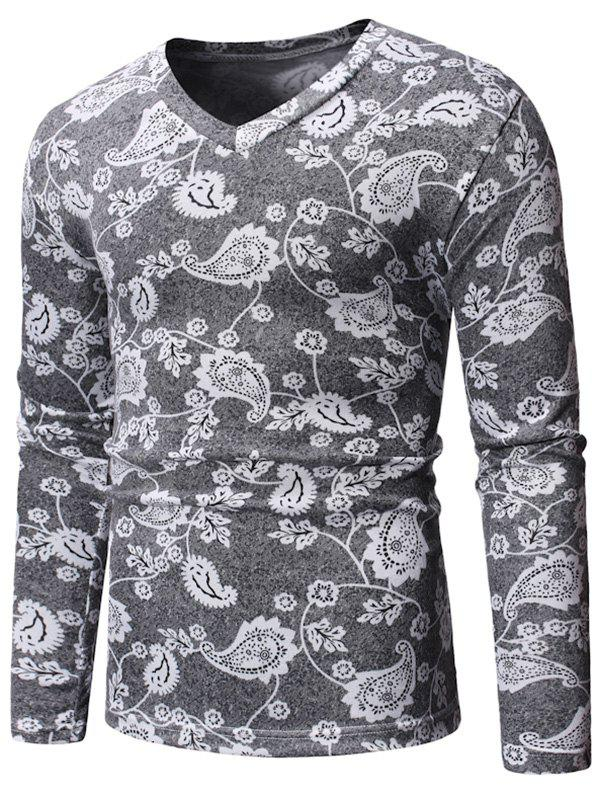 New Floral Design Casual V-Neck Sweater