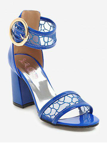 ddf1e3eb9336 Mesh Ankle Strap Heeled Sandals