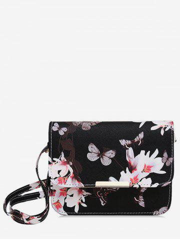 467d401007 Butterfly and Flowers Print Flap Crossbody Bag