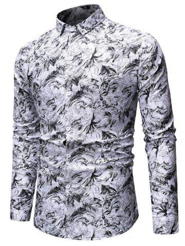 Floral Design Button Up Leisure Shirt