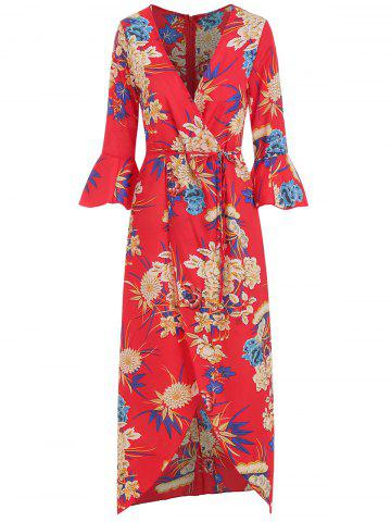Floral Print Flare Sleeve Wrap Dress