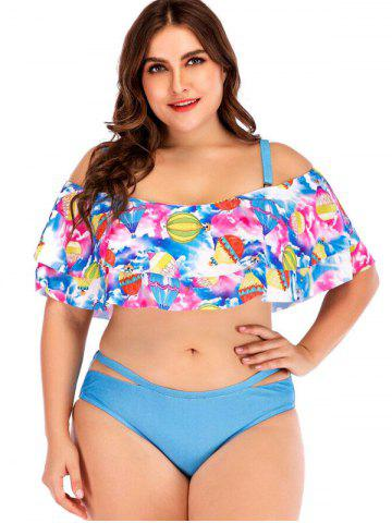 Hot Air Balloon Print Plus Size Ruffle Trim Bikini Set
