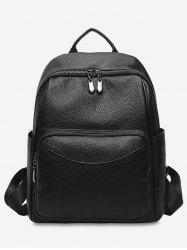Solid PU Leather Backpack -