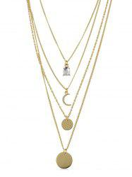 Crescent Disc Tiered Necklace -