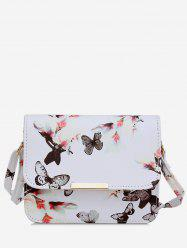 Butterfly and Flowers Print Flap Crossbody Bag -