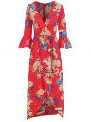 Floral Print Flare Sleeve Wrap Dress -
