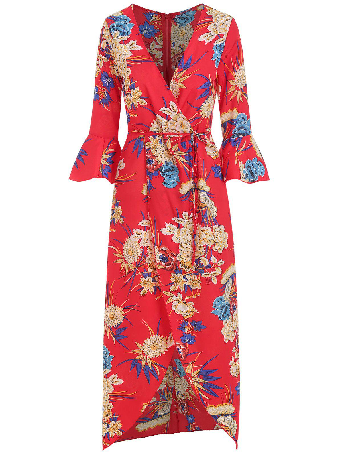 Fancy Floral Print Flare Sleeve Wrap Dress