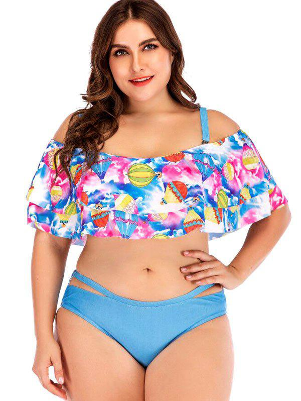 Hot Air Balloon Print Plus Size Ruffle Trim Bikini Set Rosegal