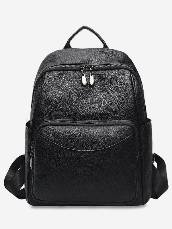 Discount Solid PU Leather Backpack