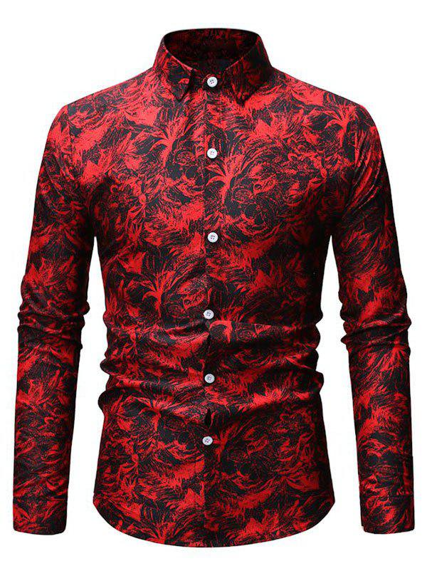 Store Floral Design Button Up Leisure Shirt