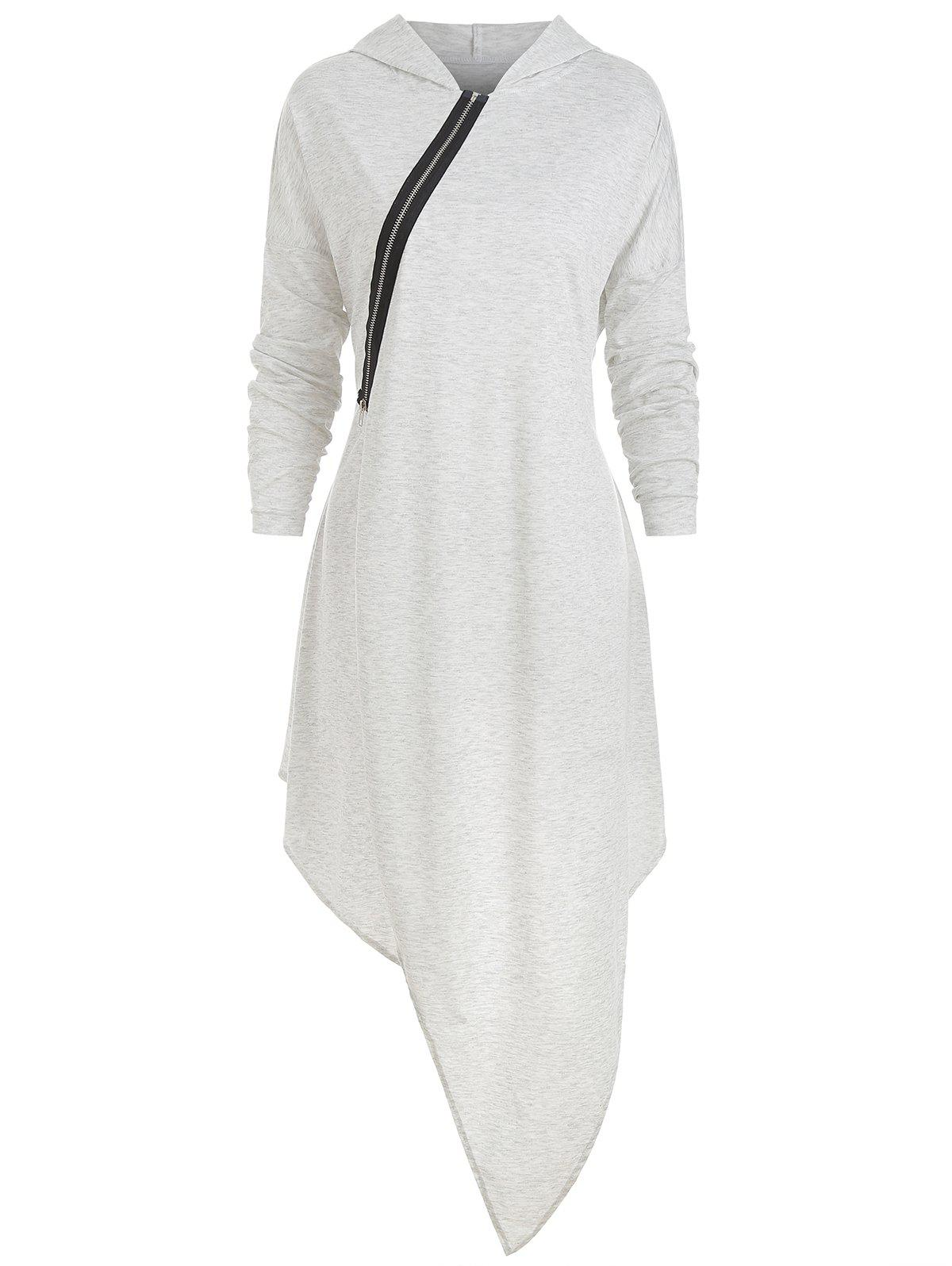 Latest Long Sleeve Hooded Asymmetric Dress