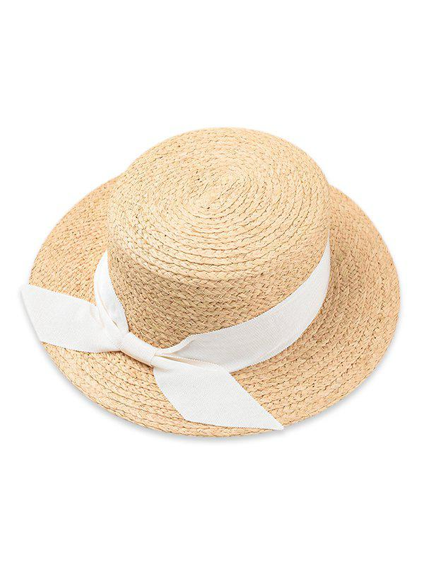 Store Bowknot Embellished Flat Top Straw Hat